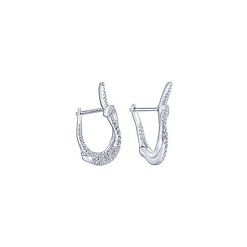 18k White Gold Contemporary Intricate Hoop Earrings angle 2
