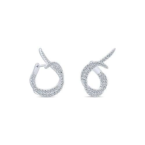 18k White Gold Contemporary Intricate Hoop Earrings angle 3