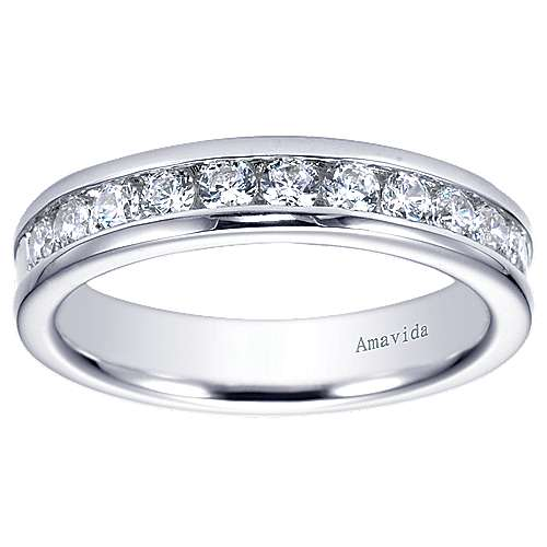 18k White Gold Contemporary Straight Wedding Band angle 5