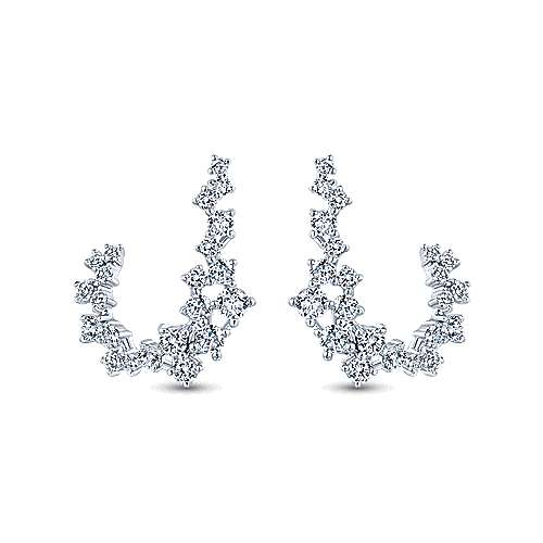 Gabriel - 18k White Gold Curving Diamond Drop Earrings