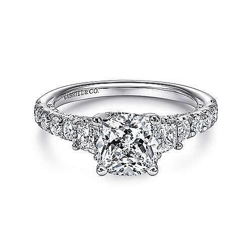 18k White Gold Cushion Cut 3 Stones Engagement Ring angle 1
