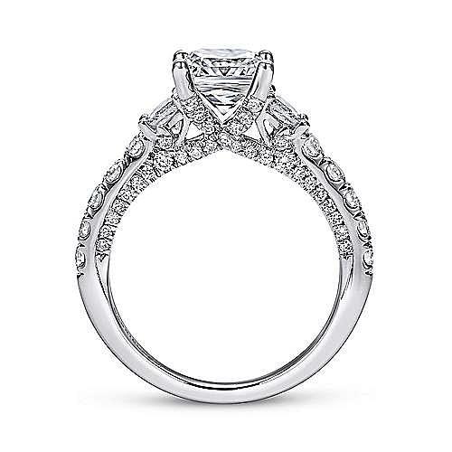 18k White Gold Cushion Cut 3 Stones Engagement Ring angle 2
