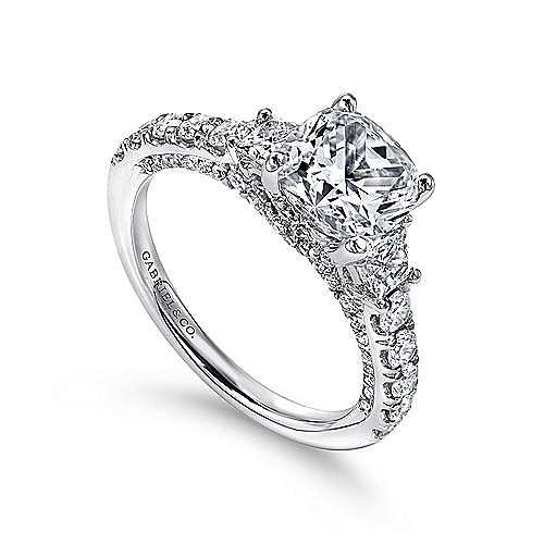 18k White Gold Cushion Cut 3 Stones Engagement Ring angle 3