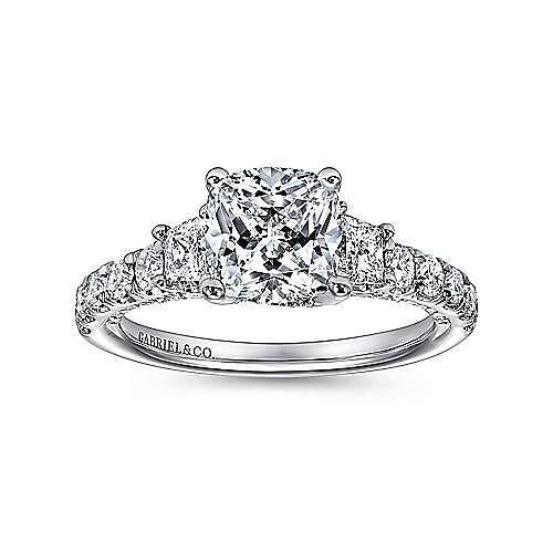 18k White Gold Cushion Cut 3 Stones Engagement Ring angle 5