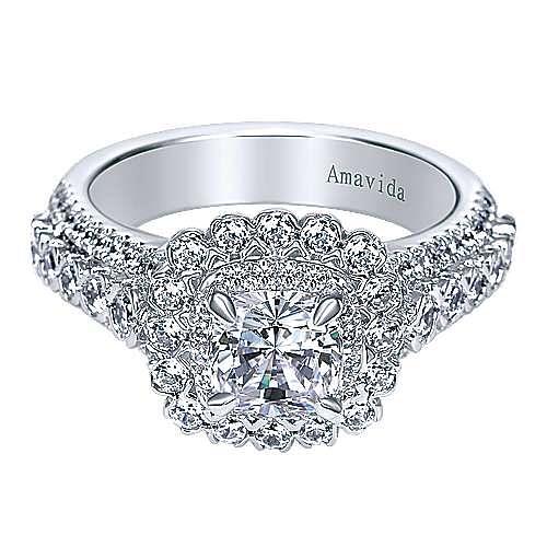 18k White Gold Cushion Cut Double Halo Engagement Ring angle 1