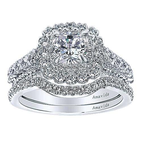 18k White Gold Cushion Cut Double Halo Engagement Ring angle 4