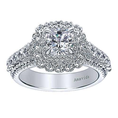 18k White Gold Cushion Cut Double Halo Engagement Ring angle 5