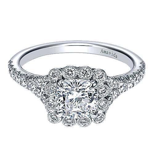 18k White Gold Cushion Cut Halo Engagement Ring angle 1