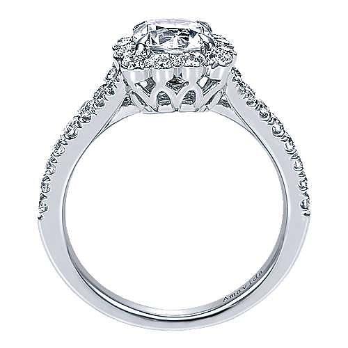 18k White Gold Cushion Cut Halo Engagement Ring angle 2