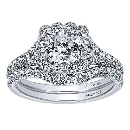 18k White Gold Cushion Cut Halo Engagement Ring angle 4