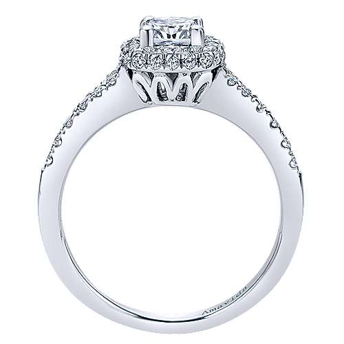 18k White Gold Cushion Cut Halo Engagement Ring angle 2