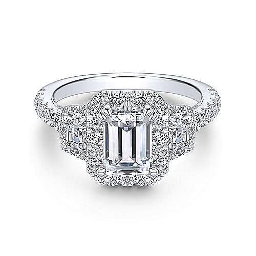 18k White Gold Emerald Cut 3 Stones Halo Engagement Ring angle 1