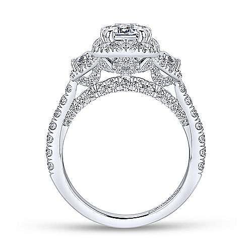 18k White Gold Emerald Cut 3 Stones Halo Engagement Ring angle 2