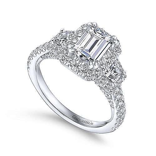 18k White Gold Emerald Cut 3 Stones Halo Engagement Ring angle 3
