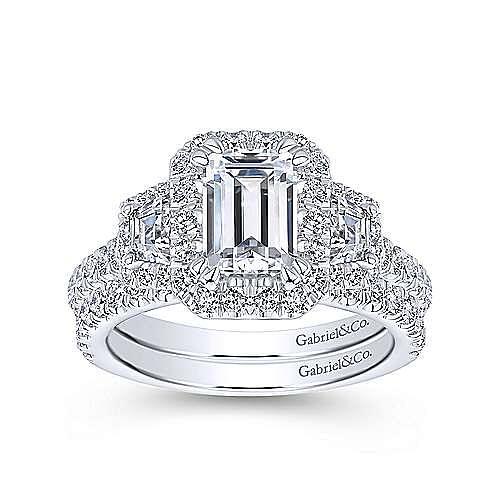 18k White Gold Emerald Cut 3 Stones Halo Engagement Ring angle 4