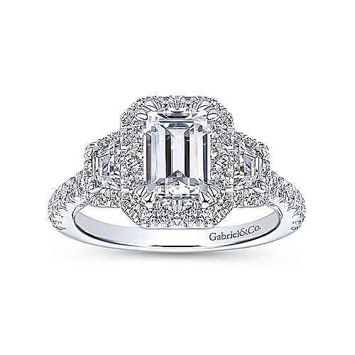 18k White Gold Emerald Cut 3 Stones Halo Engagement Ring angle 5