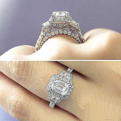 18k White Gold Emerald Cut 3 Stones Halo Engagement Ring angle 6
