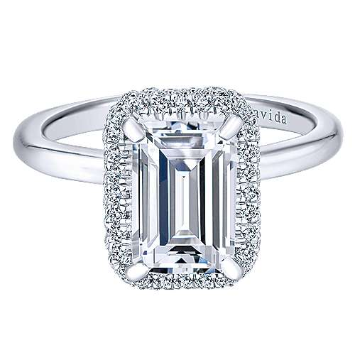 Gabriel - 18k White Gold Emerald Cut Double Halo Engagement Ring