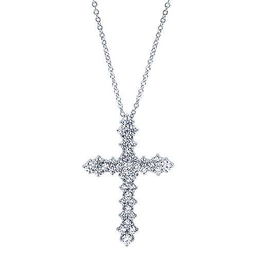 18k White Gold Faith Cross Necklace