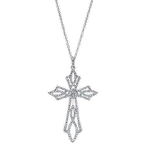 18k White Gold Faith Cross Necklace angle 1
