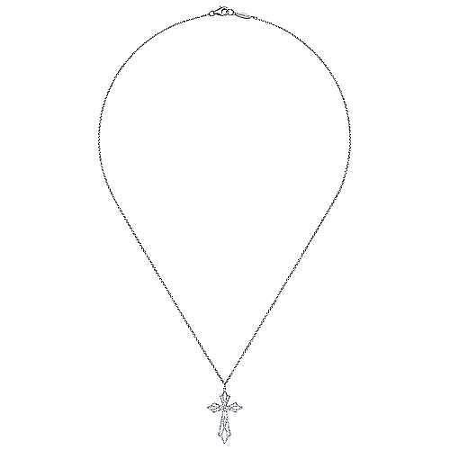 18k White Gold Faith Cross Necklace angle 2