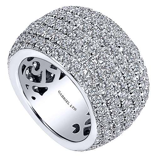 18k White Gold Fancy Diamond Micro Pavé Set Domed Ring