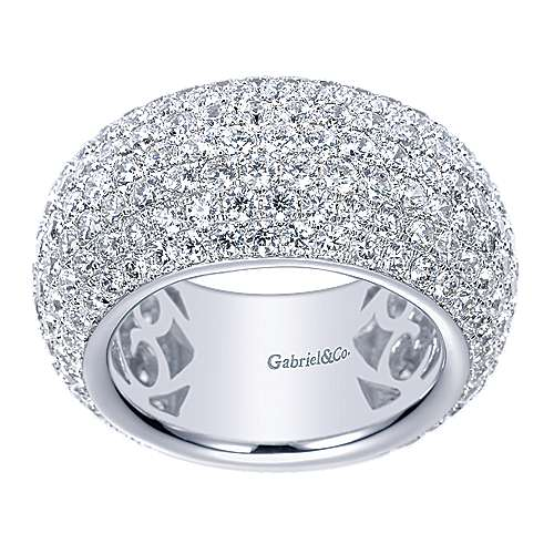 18k White Gold Fancy Micro Pavé Set Domed Ring