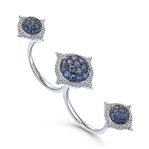 18k White Gold Kaslique Double Ring Ladies' Ring angle 3