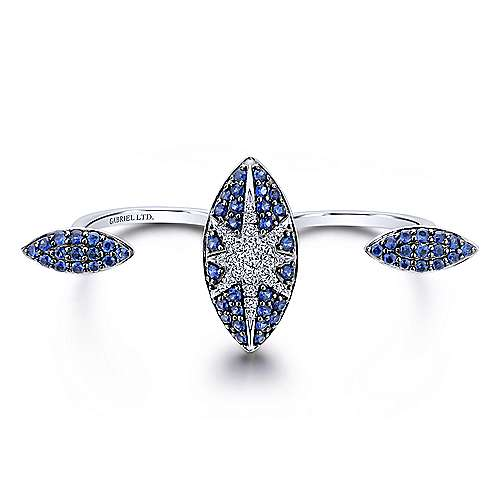 18k White Gold Kaslique Double Ring Ladies' Ring angle 1