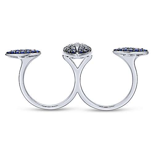 18k White Gold Kaslique Double Ring Ladies' Ring angle 2