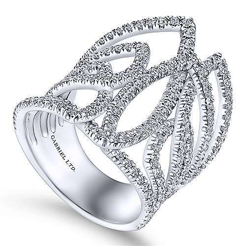 18k White Gold Kaslique Wide Band Ladies' Ring angle 3