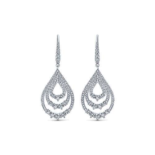 18k White Gold Layered Teardrop Diamond Drop Earrings