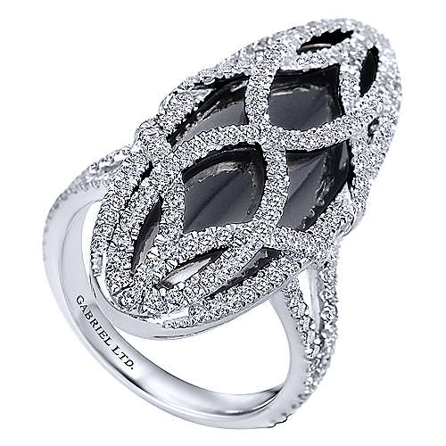 18k White Gold Lusso Color Fashion Ladies' Ring angle 3