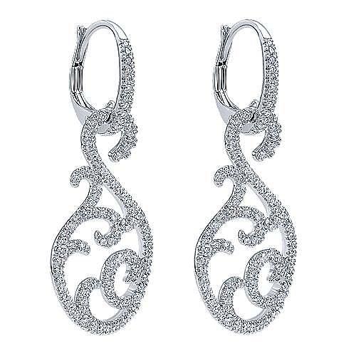 18k White Gold Lusso Drop Earrings angle 2