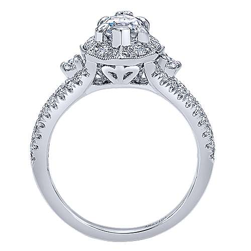 18k White Gold Marquise  Halo Engagement Ring angle 2