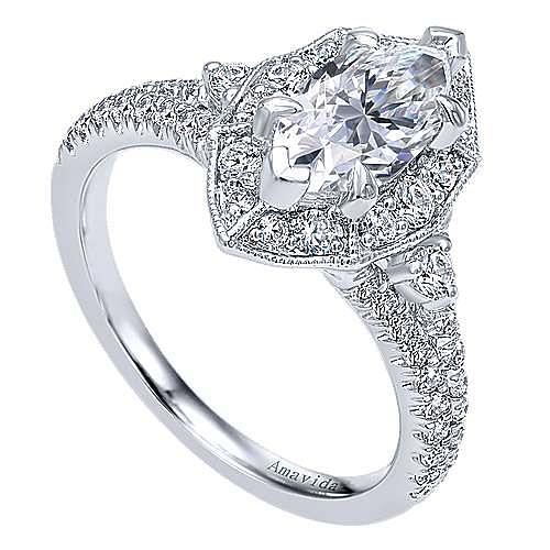 18k White Gold Marquise  Halo Engagement Ring angle 3