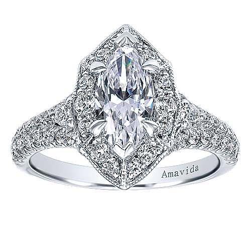 18k White Gold Marquise  Halo Engagement Ring angle 5