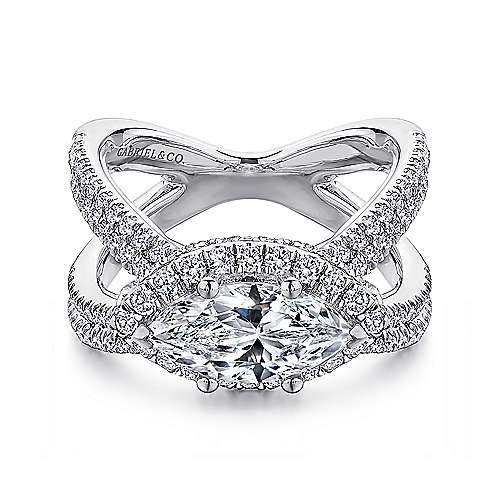 18k White Gold Marquise  Halo Engagement Ring angle 1