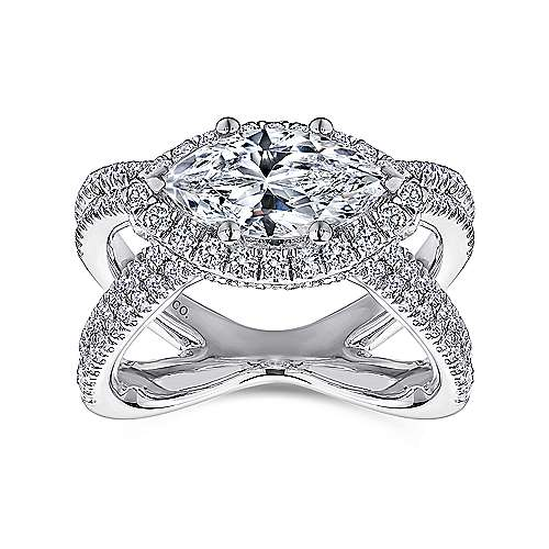 18k White Gold Marquise  Halo Engagement Ring angle 5
