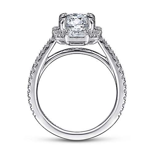 18k White Gold Octagonal Halo Round Diamond Engagement Ring