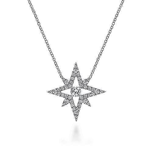 18k White Gold Open Diamond Star Pendant Necklace
