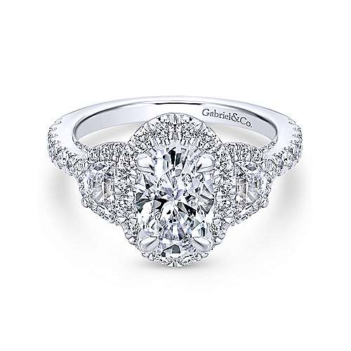 18k White Gold Oval Halo Engagement Ring angle 1