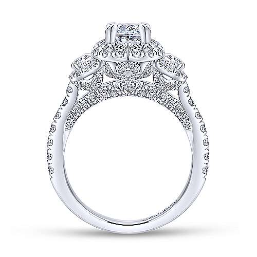 18k White Gold Oval Halo Engagement Ring angle 2