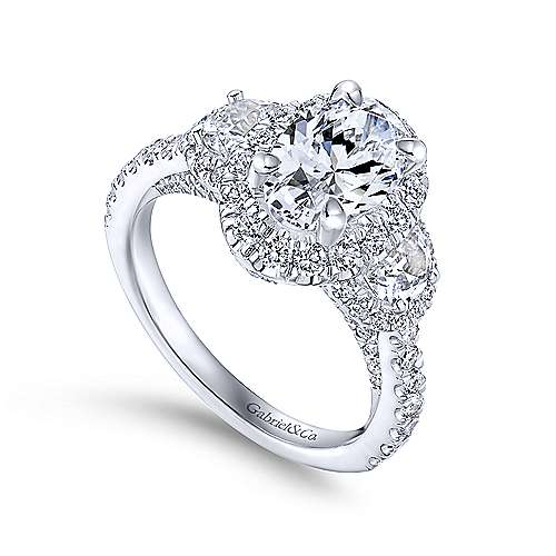 18k White Gold Oval Halo Engagement Ring angle 3
