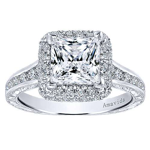 18k White Gold Princess Cut Double Halo Engagement Ring angle 5