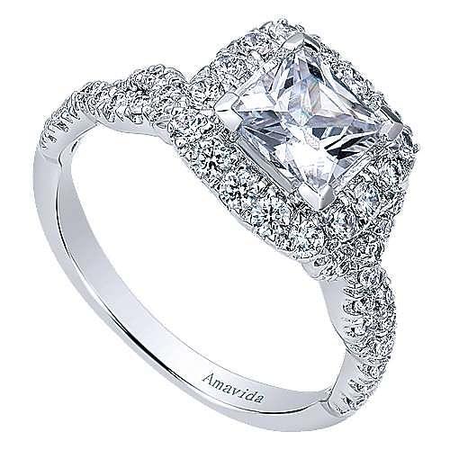 18k White Gold Princess Cut Halo Engagement Ring angle 3
