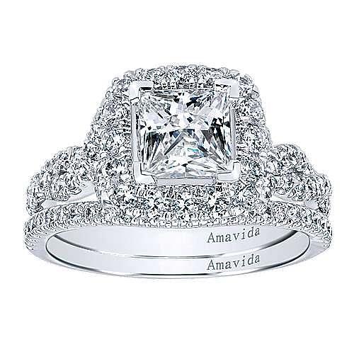 18k White Gold Princess Cut Halo Engagement Ring angle 4