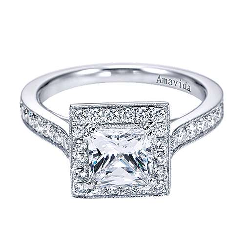 18k White Gold Princess Cut Halo Engagement Ring angle 1