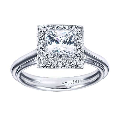 18k White Gold Princess Cut Halo Engagement Ring angle 5