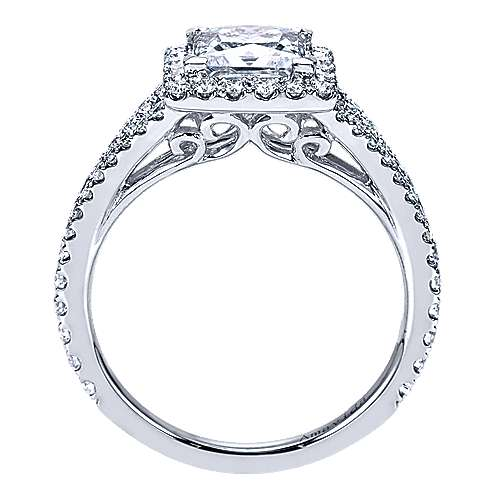 18k White Gold Princess Cut Halo Engagement Ring angle 2